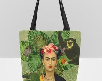 Frida Kahlo Palm Leaves Parakeet Monkey Canvas Tote Bag