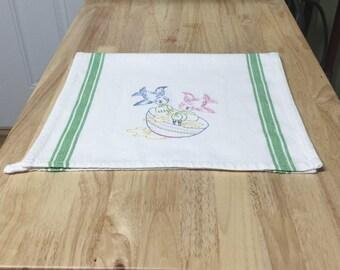 Little Kitchen Birds - Mixing Batter Tea Towel | Embroidered Tea Towel | Kitchen Towel | Embroidered Towel | Hand Towel | Dish Towel