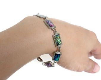 Paua Shell Bracelet With Rectangle Links - Abalone Shell Bracelet, Shell Bracelet, Paua Shell Jewelry, Abalone Jewelry, Shell Jewelry