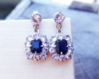 Antique Natural Sapphire Earrings Blue and White 9k Gold and Silver Filigree Mid Century Pierced Fittings
