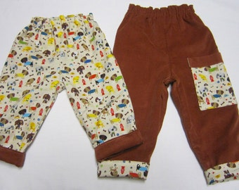 Reversible Cotton Pants in Dog Fabric Coordinated with Rust Pinwale Corduroy Size  6 -12 Month