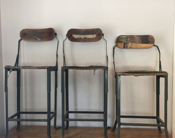 Rare Vintage industrial 'domore' stools - height adjustable