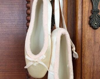 Vintage satin silk ballet ballerina dance shoes for hook, wall or dresser