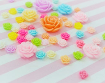 8mm - 25mm Mixed Flower Flatback Decoden Cabochons - set of 25