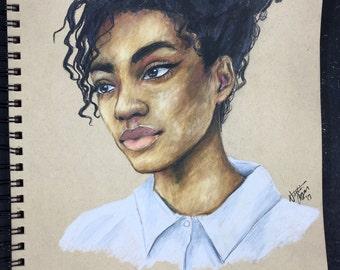Original prismacolor portrait woman