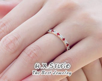Solid 18K Gold Diamond & Ruby Ring, Half Eternity Band, Diamond Stacking Ring, Diamond Engagement Ring with Rubies, Wedding Ring