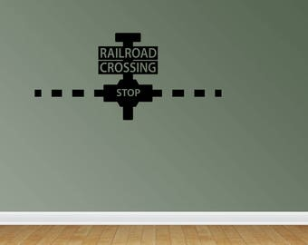 Wall Decal Quote Railroad Train Crossing Decal Nursery Or Bedroom Decor Little Boy Or Girl Train Theme Vinyl Stickers (PC260)