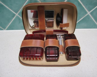 Vintage Mens Grooming/ Shaving Kit - 1950's -Faux Tortoise Shell - Never Been Used - Hipster - Complete
