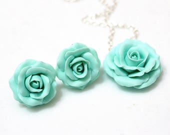 Set Mint Green Rose Necklace and Earrings, Mint Green Flower Necklace, Mint Rose Necklace,  Mint Rose EarringsWedding Jewelry Gift