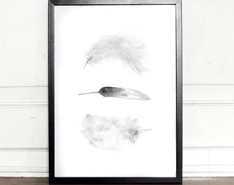 Feathers print, Watercolor, giclee art print, wall decor, home decor, tribal feather print, watercolor feather