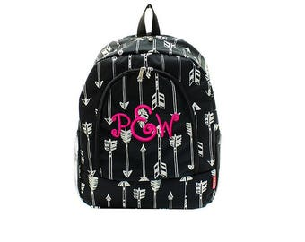 Monogrammed Black with White Arrows Print School Size Backpack Bookbag Diaper Bag -  Personalized with Embroidered Name or Initials