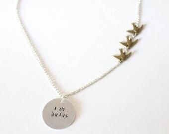 I AM BRAVE Tris Tattoo Necklace Four Dauntless Abnegation Amity Candor Erudite Divergent