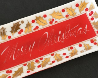Vintage Houze Merry Christmas Tray. Mid Century Christmas Decor.