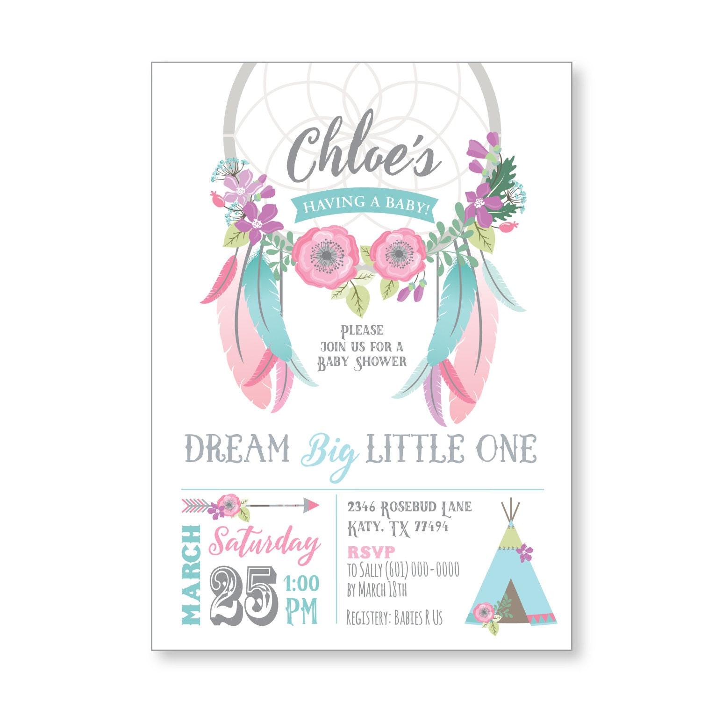 Dreamcatcher Baby Shower Invitation / Boho Baby Shower / Gender Neutral / Flowers, feathers ...