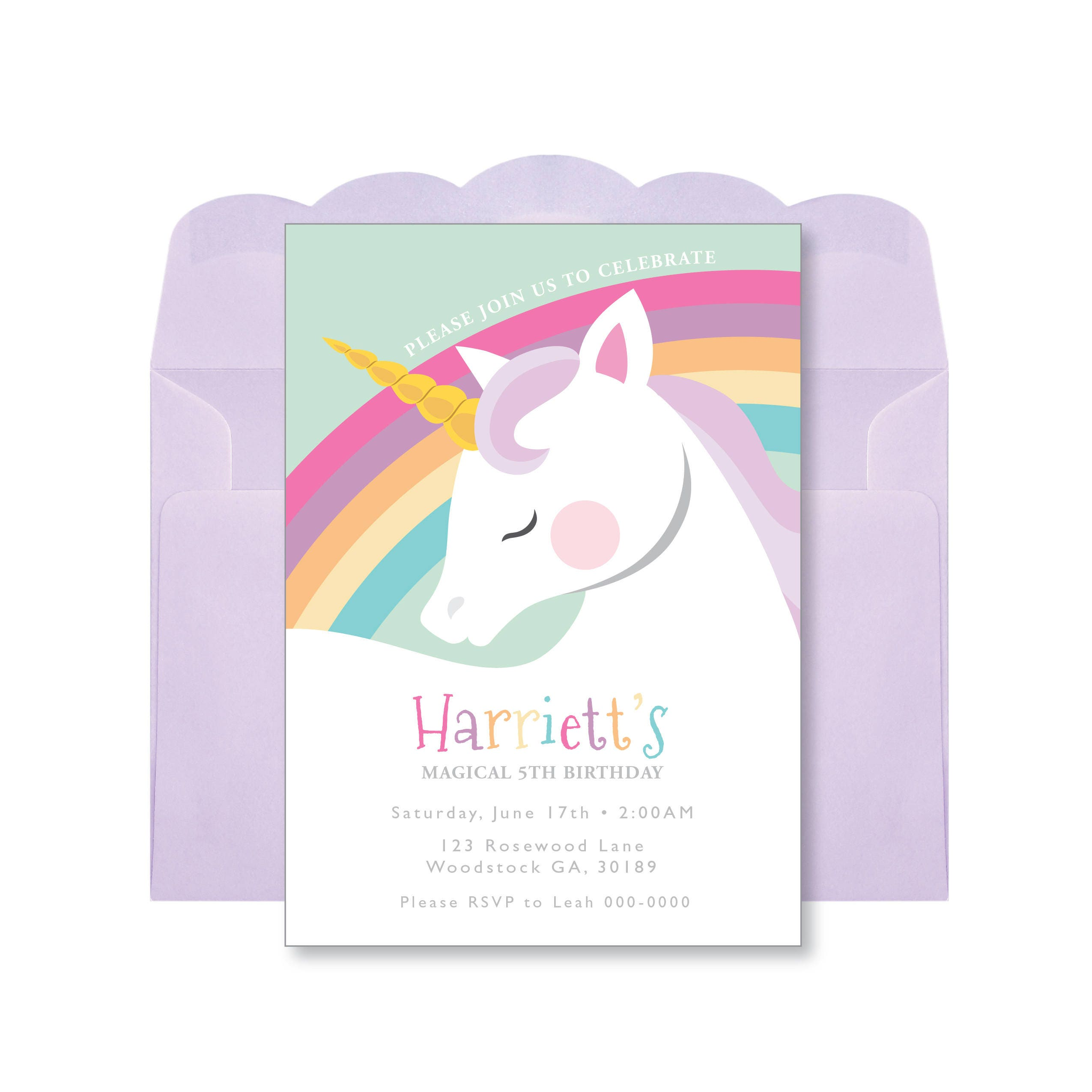 Unicorn Rainbow Birthday Invitation, Printable, Customized, DIY, Girls Birthday Invite - pastel ...