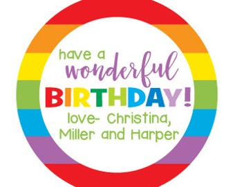 Birthday Stickers, Personalized Birthday Party Gift Stickers, Rainbow Design