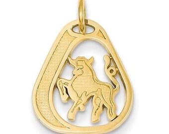14K Yellow Gold Taurus Zodiac Horoscope Bracelet or Necklace Pendant Charm LKQC1120