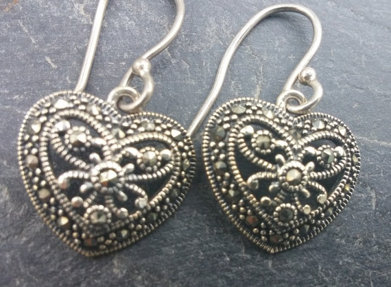 Sterling silver marcasite heart pierced earrings clean for How do i clean sterling silver jewelry