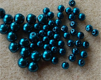 PEARL Beads, Mix of 2 sizes, Shiny Petrol Blue, 100 @ 6mm and 200 @ 4mm, a total of 300 pearls.