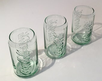 Vintage Green McDonalds Coca-Cola Can Shaped Drinking Glasses 3 piece set