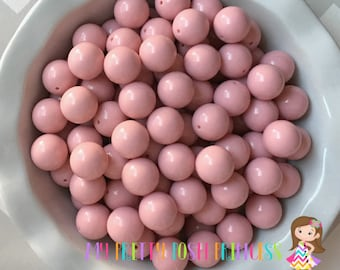 20mm Dusty Pink Solid Chunky Bubblegum Beads Set of 10