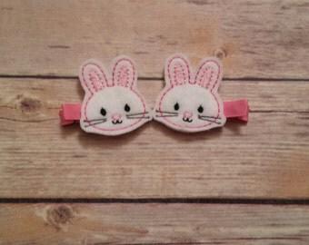 Easter Bunny felt hair clips
