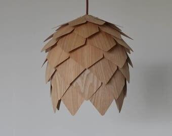 Wood Hanging pendant Lighting,Unique Pine Cone Pendant Lamp, made of Chinese ash veneer, for interior decoration-ceiling lamp- hanging lamp