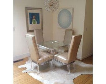 set of 4 vintage lucite dining chairs newly reupholstered vintage modern dollhouse furniture 1200 etsy