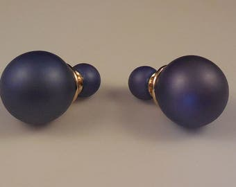 Christian Dior Mise En Dior Tribal Double Amethyst Faux Pearl Pierced Stud Earrings