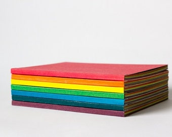 Rainbow pocket notebooks, cheveon detailed blank book, colourful pocket journal