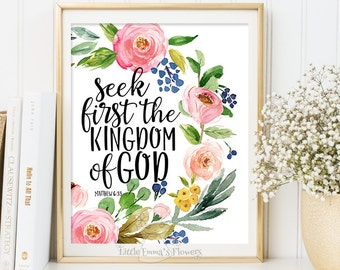 Bible verse art, christian print, Nursery decor Seek first the Kingdom of God Matthew 6:33 nursery wall art home decor INSTANT DOWNLOAD 6-22