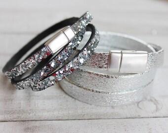 Silver Metallic Bracelet Stack