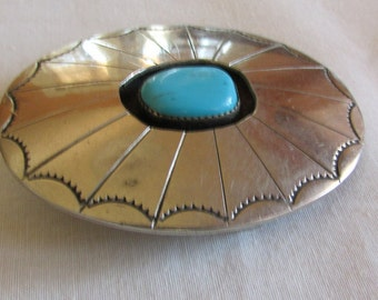 Nickel Silver Handmade Shadow Box Buckle with Turquoise