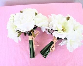 White Bridesmaids Flower Bouquets Set Of 2, Traditional Bridesmaid Bouquets Set Of 2
