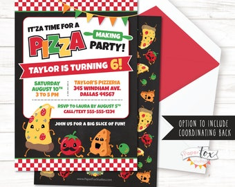 Pizza Party Invitation, Pizza Birthday Invitation, Pizza Invitation, Pizza Party Invite, Chef Birthday Party, Pizza Making Party, Girls Boys
