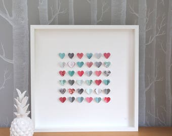 Wedding anniversary gift. Personalised wedding gift. Heart frame. Unique wedding gift. Coral mint silver wedding. Mr and Mrs frame. Hearts.