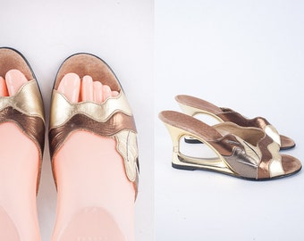 Metallic Leather Sandals, Cut Out Heel 70s Shoes, Open Wedge Heel, Platform Shoes, Peep Toe 80s Shoes, Gold Shoes, Open Toe Leather Slides