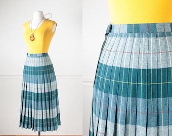 Reversible Plaid WOOL Skirt, 60s Skirt, High Waist Skirt, Plaid Skirt, Green Skirt, Pleated Skirt, School Girl Skirt, Retro Skirt Cute Skirt