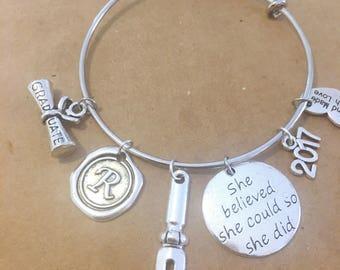 English major graduation personalized charm bracelet