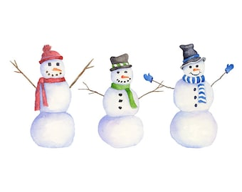 Watercolor Snowman Clipart, PNG Instant Download, Hand Painted Snowmen Winter Clip Art, 3 Individual PNG Files