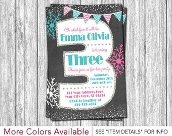 Winter Birthday Invitation - Winter 3rd Birthday Invitations - Snowflake Third Birthday Invitation