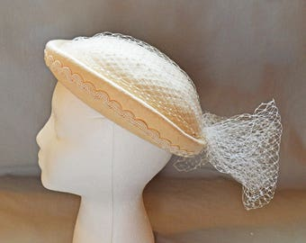 Vintage Ladies' Hat - 1940s Suiter or Modified Derby Style, Cream Wool with White Veil/Netting, Karen Lynn Exclusive