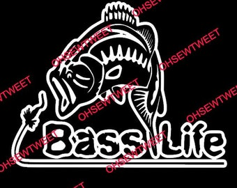Bass Life Large Mouth Bass Vinyl Decal Sticker for Car, Truck, SUV, and Boat Windows