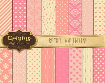 Retro Valentine Digital Paper - Digital Scrapbook Paper Pack, Love hearts digital paper, printable backgrounds, valentine patterns