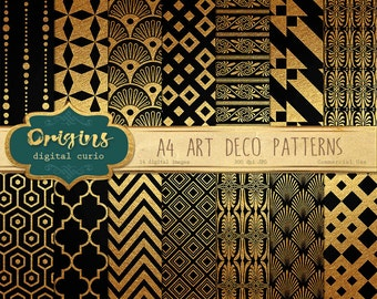 70% OFF Art Deco Digital Paper Black and Gold Patterns - A4 Backgrounds for Invitations, Weddings, Scrapbooking instant download