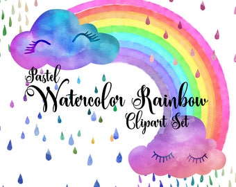 Pastel Watercolor Rainbow Clipart, whimsical digital instant download clouds, rain, raindrops, rainy day watercolour clip art commercial use