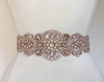 Rose Gold Crystal Rhinestone Bridal Belt on Satin Sash - Bridal Sash - Rosegold Rhinestone Belt - Rose gold Wedding Accessories B104