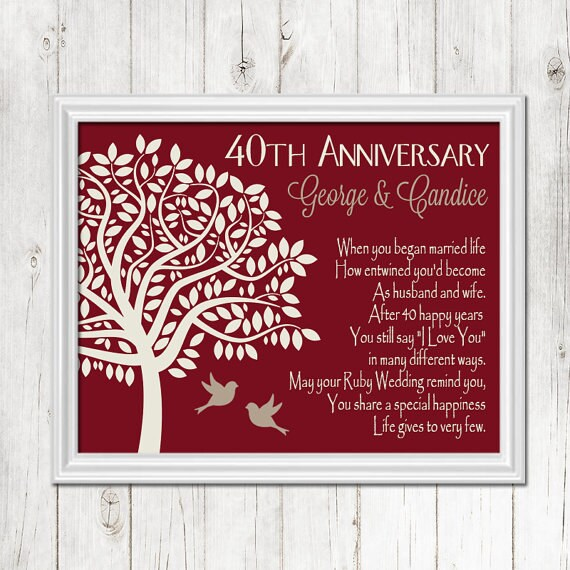 Unusual Ruby Wedding Anniversary Gifts For Parents : ... Anniversary, Ruby Anniversary Gift, Parents Anniversary, CANVAS or