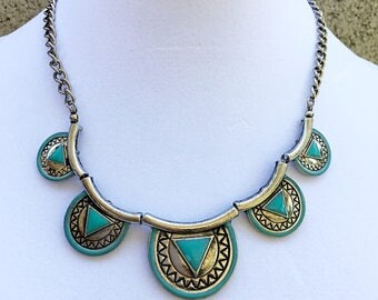 Teal and Silver Tribal Style Necklace/ Bib Tribal Style Necklace.