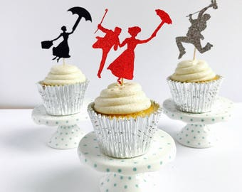 Mary Poppins cupcake toppers set of 12/ Mary Poppins Cupcake toppers/ set of 12